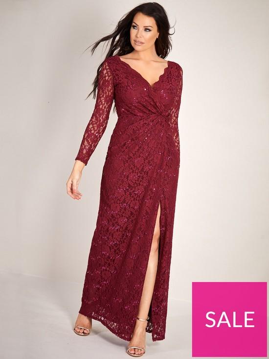 0e09c52c7e Sistaglam Loves Jessica Sequin Lace Wrap Maxi Dress - Berry | very.co.uk