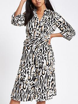 Ri Petite Printed Midi Dress - Leopard