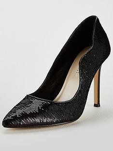 karen-millen-sequin-pointed-court-shoe-black