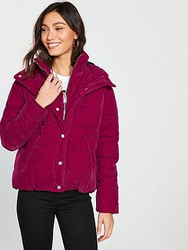 river-island-river-island-hooded-velvet-padded-jacket--pink