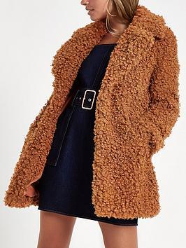 Ri Petite Curly Faux Fur Coat- Brown