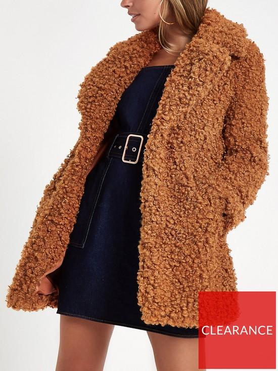 2fbbd5e94e RI Petite Faux Fur Coat - Brown
