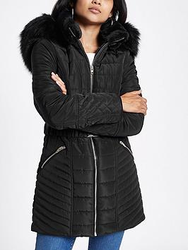 Ri Petite Belted Hooded Padded Jacket- Black