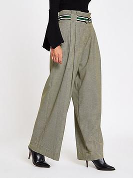 Ri Petite Check Wide Leg Trousers- Grey