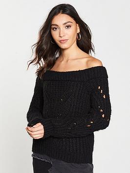river-island-river-island-chunky-knit-bardot-jumper-black