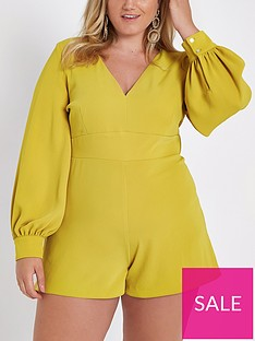 ri-plus-plunging-v-long-sleeve-playsuit--nbspyellow