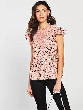 river-island-river-island-printed-frill-sleeve-top-pink