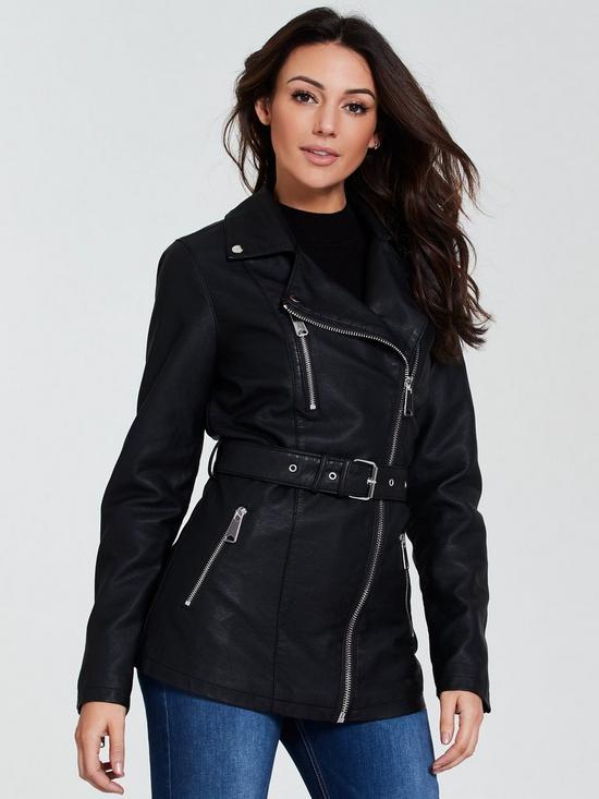 8a9425b83cc PU Longline Jacket - Black