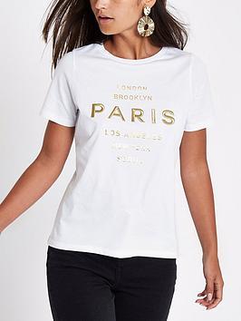 Ri Petite Paris Embroidered T - Shirt