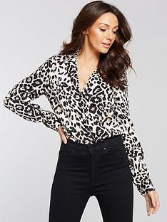 michelle-keegan-open-collar-shirt-leopard-print
