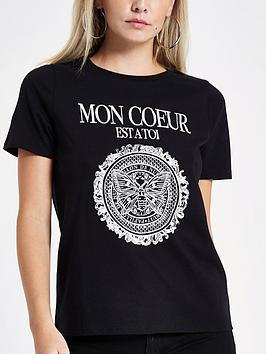 Ri Petite Foil Print T- Shirt - Black