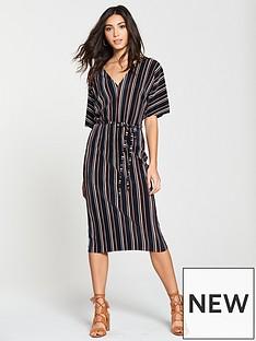 river-island-plisse-stripe-midi-skirt-navy