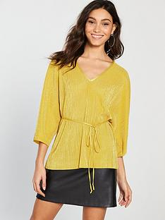 river-island-v-neck-plisse-top-ochre