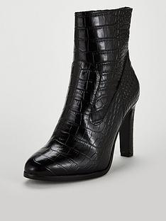 karen-millen-leather-croc-design-boot