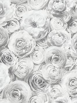 arthouse-wild-rose-silver-wallpaper