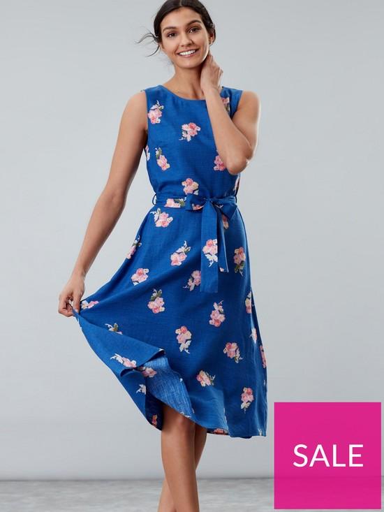 e7dad1fc6cf Joules Fiona Sleeveless Woven Dress - Blue | very.co.uk