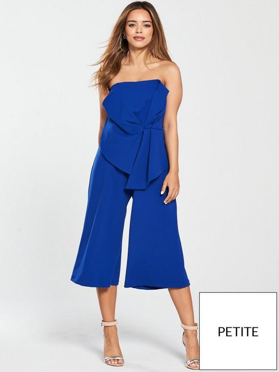 3e8d31055a V by Very Petite Origami Culotte Jumpsuit - Cobalt Blue