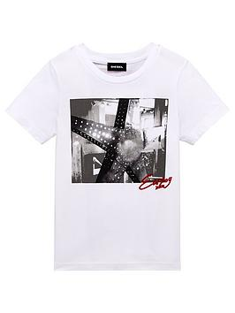 Diesel Diesel Boys Short Sleeve Graphic Print Shirt, White, Size 4 Years thumbnail