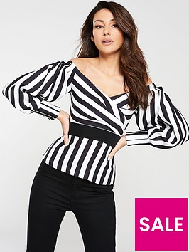 michelle-keegan-bardot-stripe-blouse-stripe