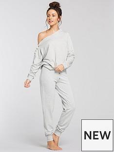 michelle-keegan-button-detail-slouchy-sweat-pyjama-top-grey-marl