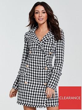 michelle-keegan-houndstooth-blazer-dress-monochrome