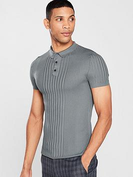 river-island-grey-ribbed-muscle-fit-polo-shirt