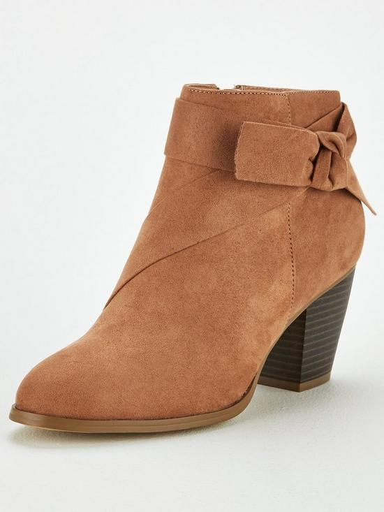 eb8bded450fd V by Very Farris Knot Detail Block Heel Ankle Boot