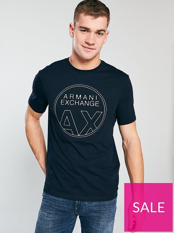 88bcc3c3 Armani Exchange Chest Logo T-Shirt - Navy   very.co.uk