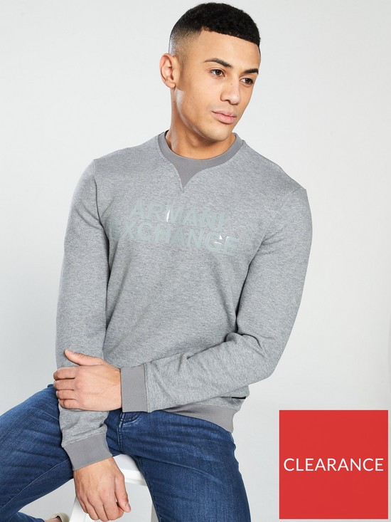 05a65684113f1 Armani Exchange Logo Sweat Top - Heather Grey | very.co.uk