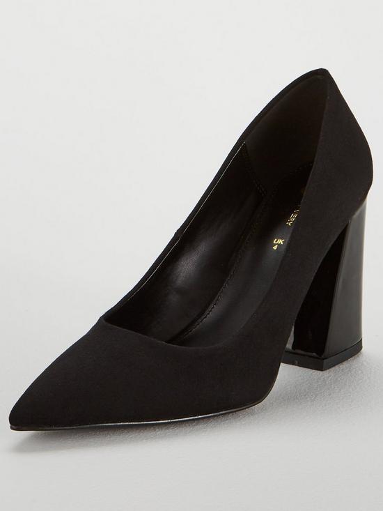 d2cc08a2de V by Very Caden Flare Block Heel Point Court Shoe - Black | very.co.uk