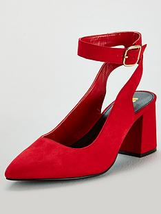 0af9842b851 V by Very Wide Fit Ankle Strap Pointed Court Shoe - Red