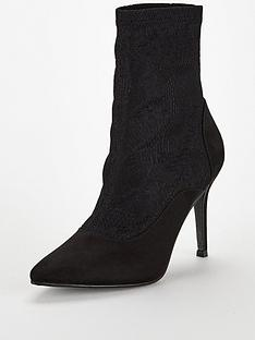 8a61192b989 V by Very Felix Lace Sock Ankle Boot - Black