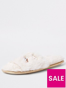 river-island-river-island-faux-fur-embellished-slippers-cream