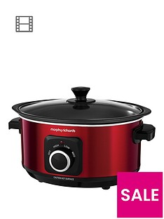 morphy-richards-evoke-35-litre-manual-slow-cooker-red