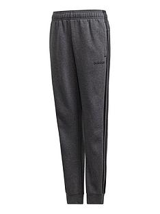 266aa9dba249 adidas Boys 3 Stripe Pants - Dark Grey Heather