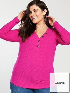 v-by-very-curve-button-detail-rib-top-pink