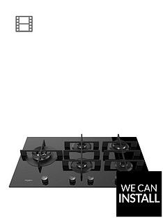 whirlpool-w-collection-gow9553nb-86cm-wide-gas-hob-with-optional-installation-black-glass