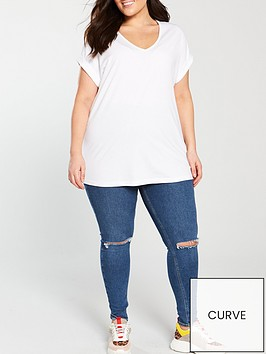 v-by-very-curve-valuenbspv-neck-turn-back-cuff-t-shirt-white