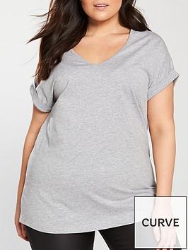 v-by-very-curve-v-neck-turn-back-cuff-t-shirt-grey-marl
