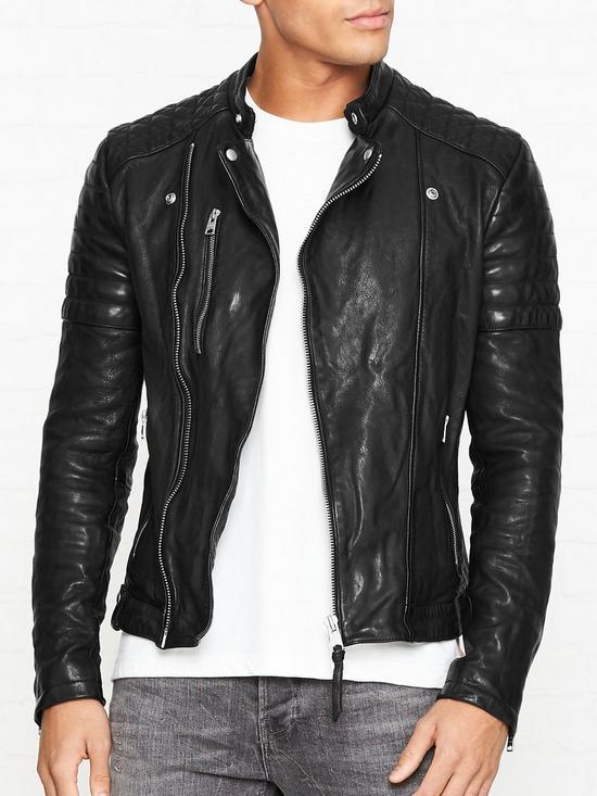 54814404c Sarls Leather Biker Jacket - Black