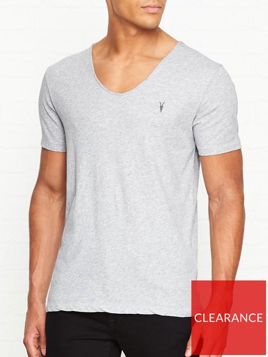 25441273 AllSaints Tonic Scoop Neck T-Shirt - Grey | very.co.uk