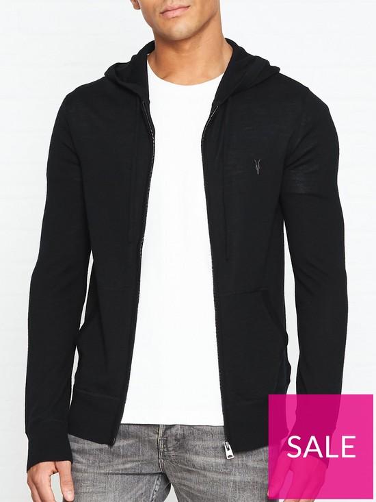 25d680f8 AllSaints Mode Merino Zip Through Hoodie - Black | very.co.uk