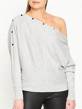allsaints-elle-button-detail-jumper-grey