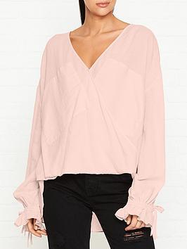 allsaints-penny-wrap-blouse-pink