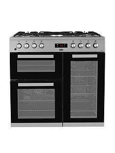 beko-kdvf90x-90cm-dual-fuel-range-cooker-stainless-steel