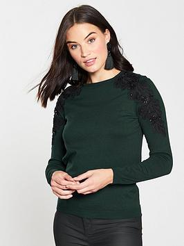 warehouse-warehouse-embellished-shoulder-lace-trim-jumper