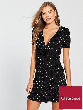 miss-selfridge-polka-dot-shirred-front-tea-dress-black