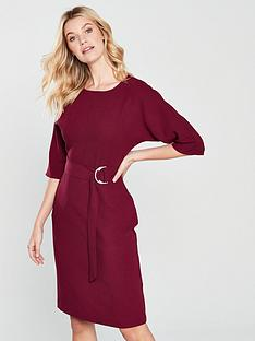 warehouse-o-ring-midi-dress-brick