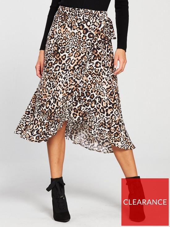8e5aa56f0e WHISTLES Animal Print Frill Wrap Skirt