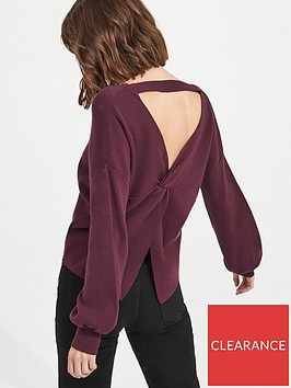 miss-selfridge-twist-back-compact-jumper-burgundynbsp
